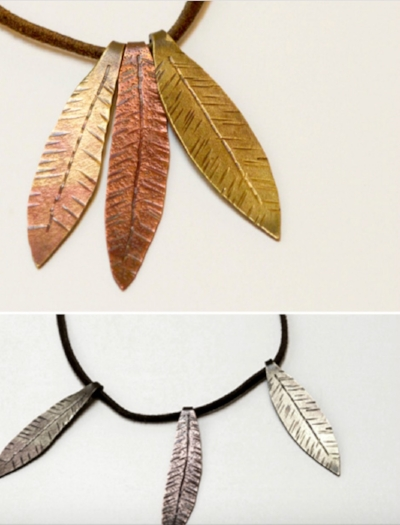 olive leaves, copper and brass