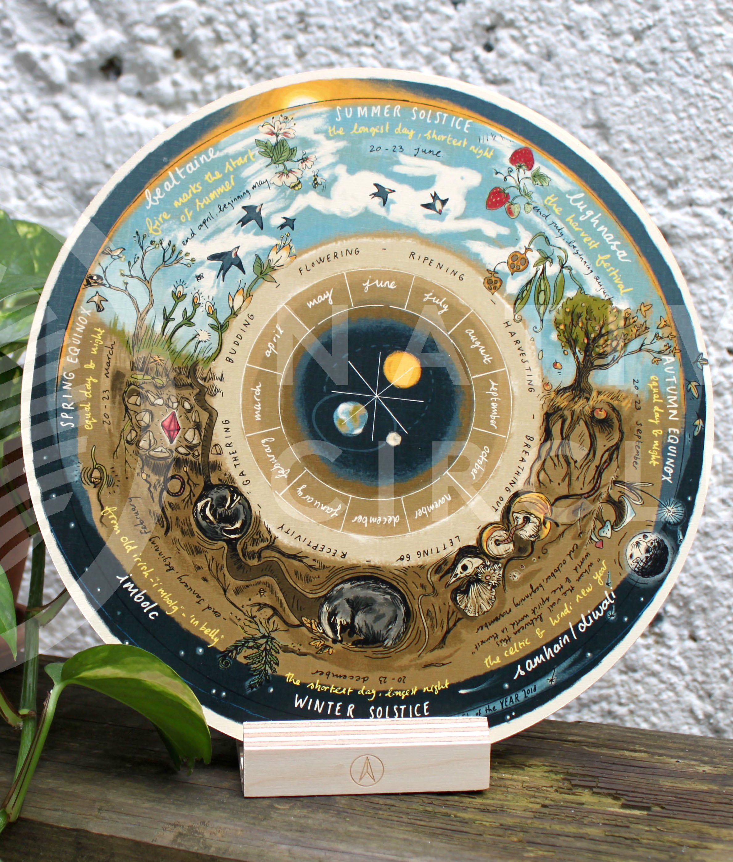 Wheel of the Year Calendar - 'Native Circles' Birchwood Wheel by Irish artist Emily Robyn Archer