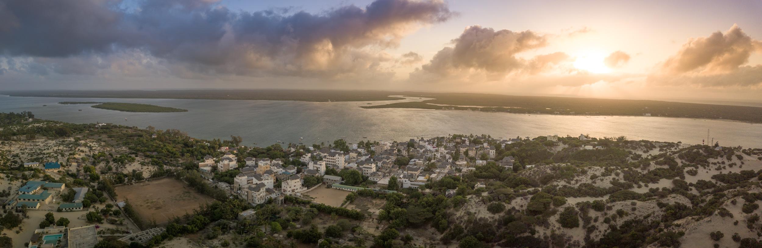 sunrise above shela town, lamu island, kenya