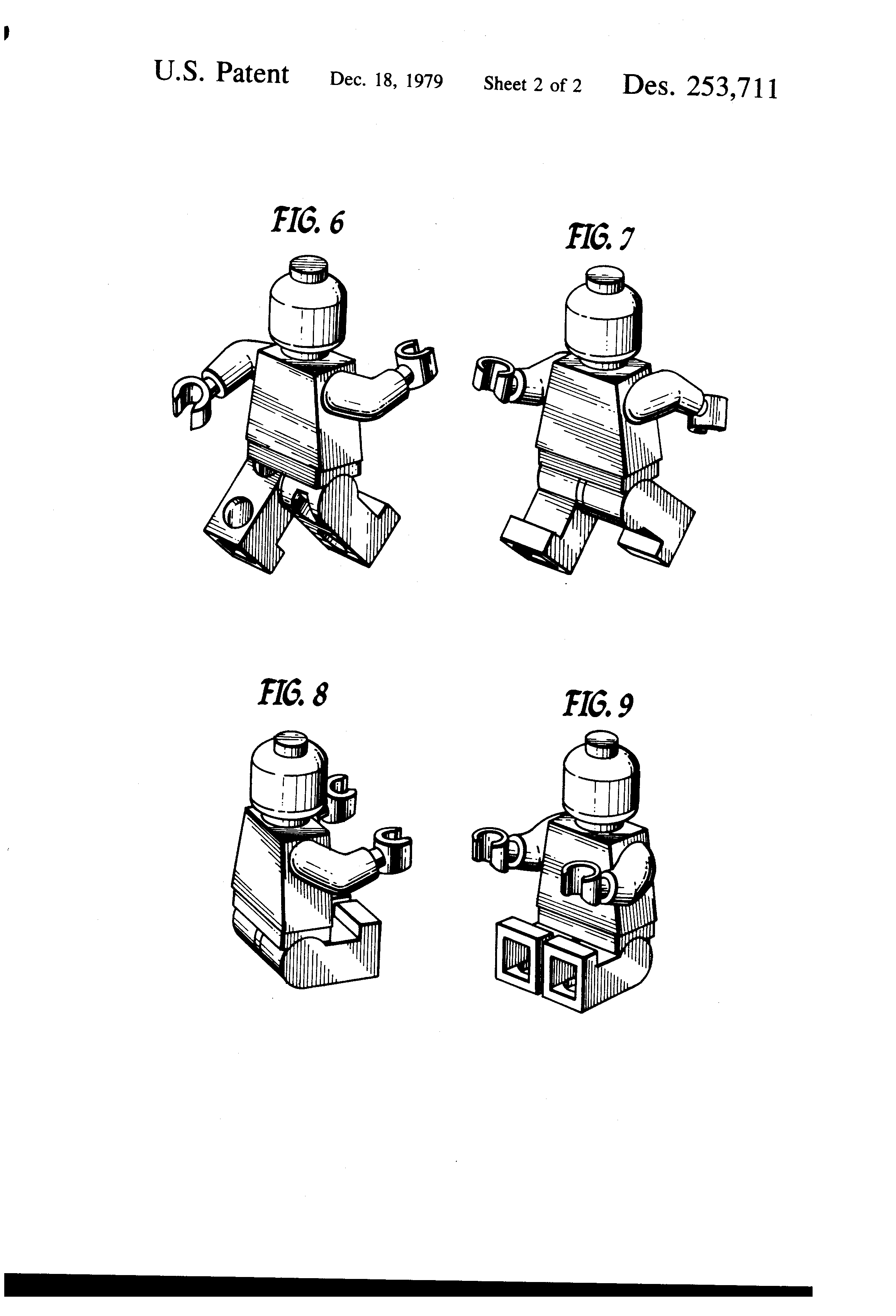 """Design Pat. No.  253,711  for """"Toy Figure."""""""