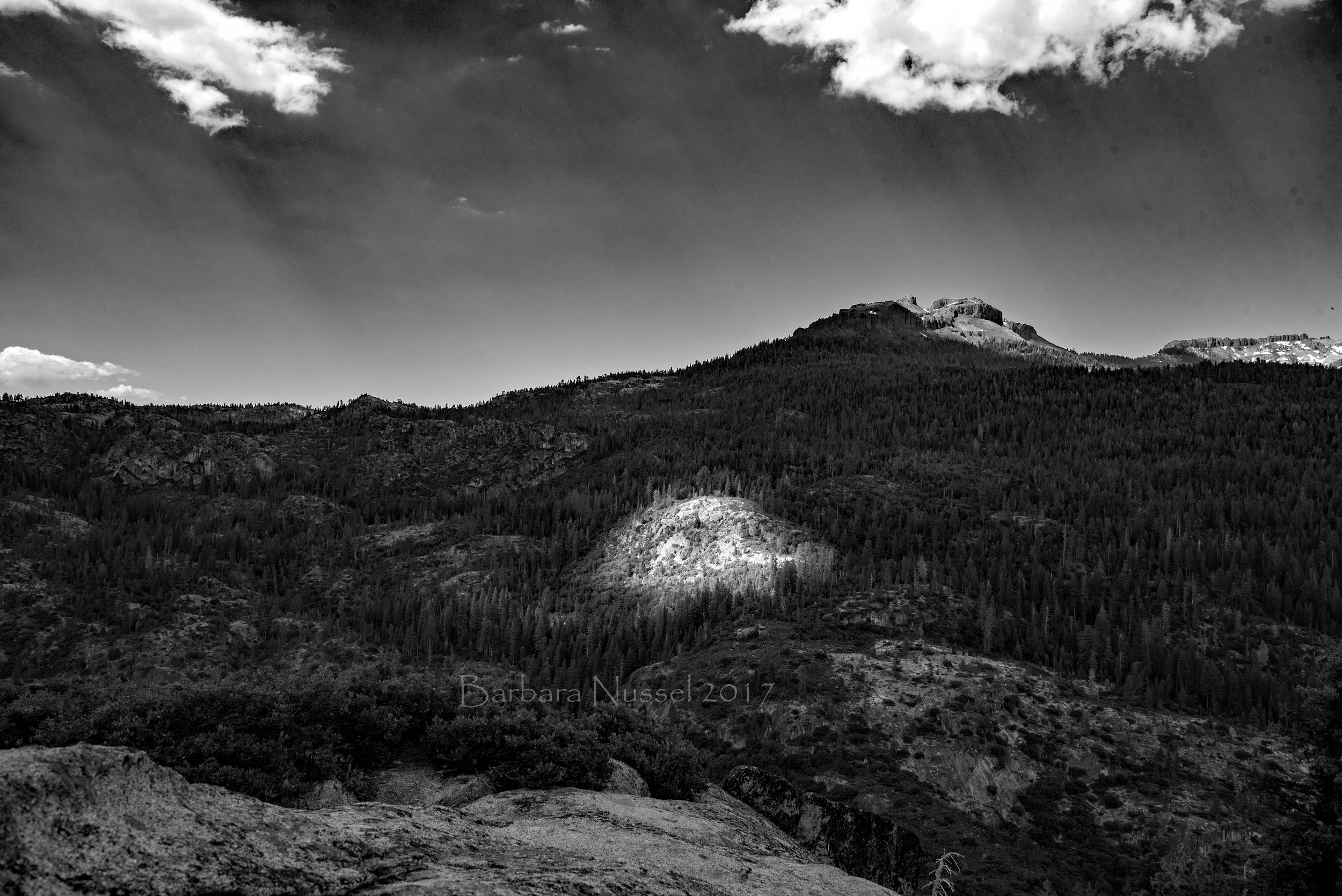 View across the Stanislaus River Canyon -- Spot light is on!