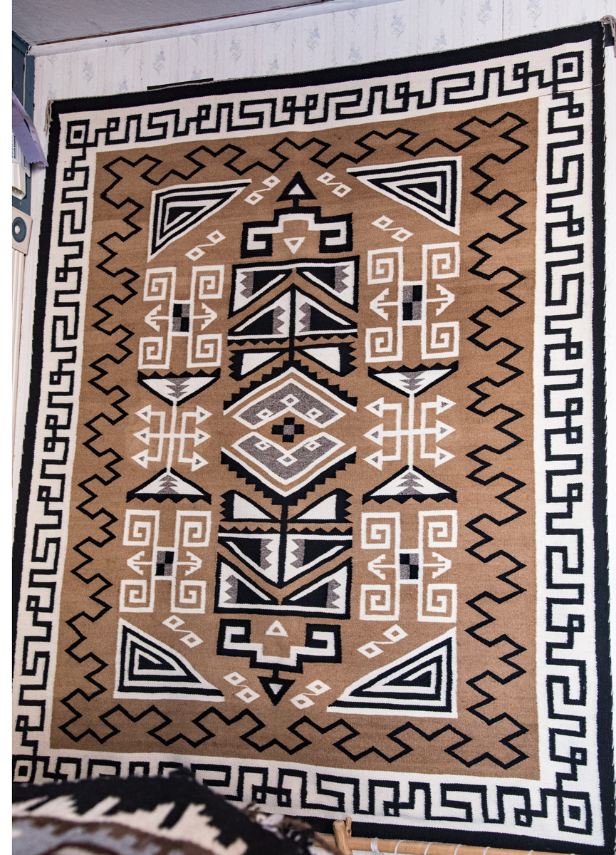 Vintage rug (from the 1940s) by a Navajo weaver from the Tsenabahitnii (Sleep Rock People) clan