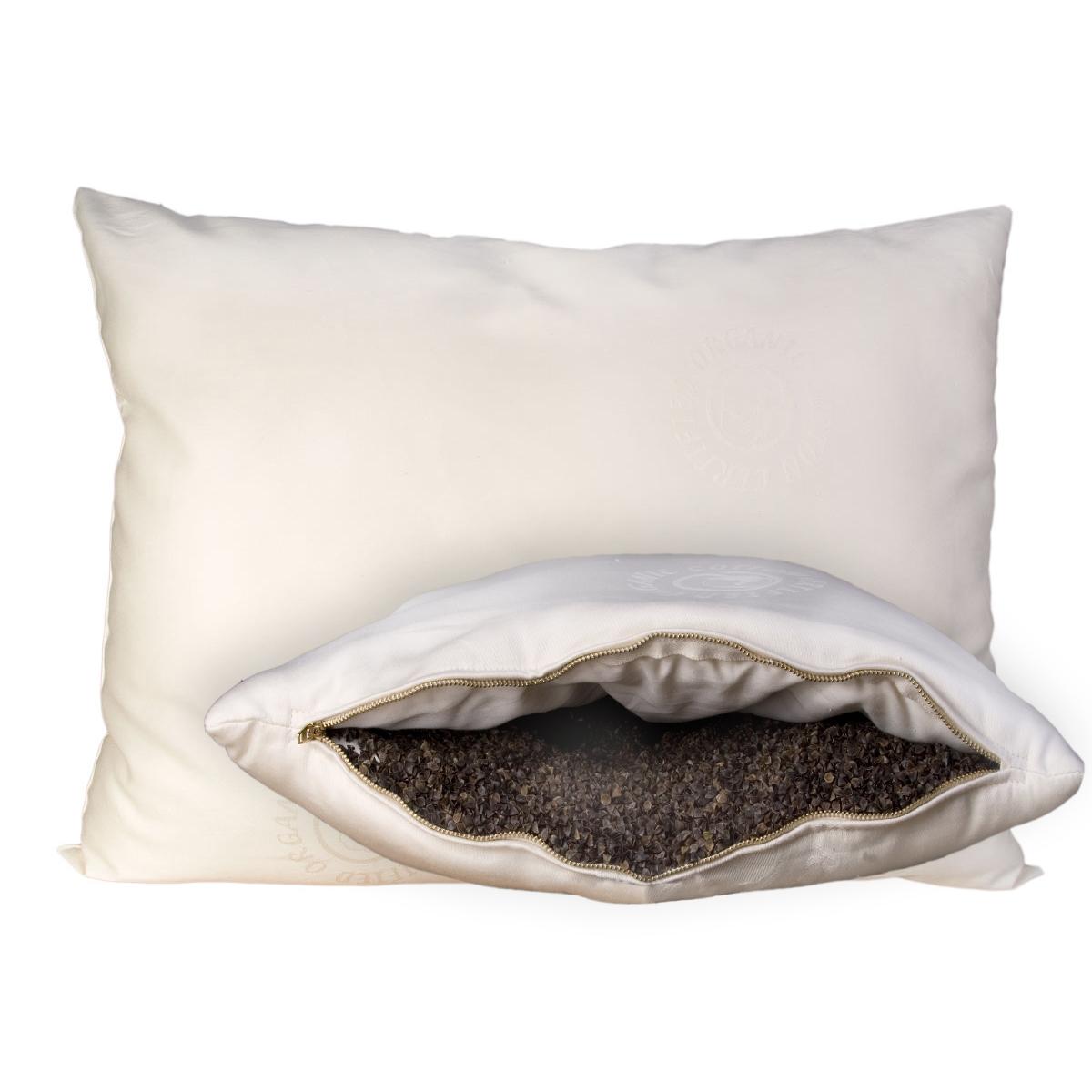 Wool-Wrapped Organic Buckwheat Hull Pillow