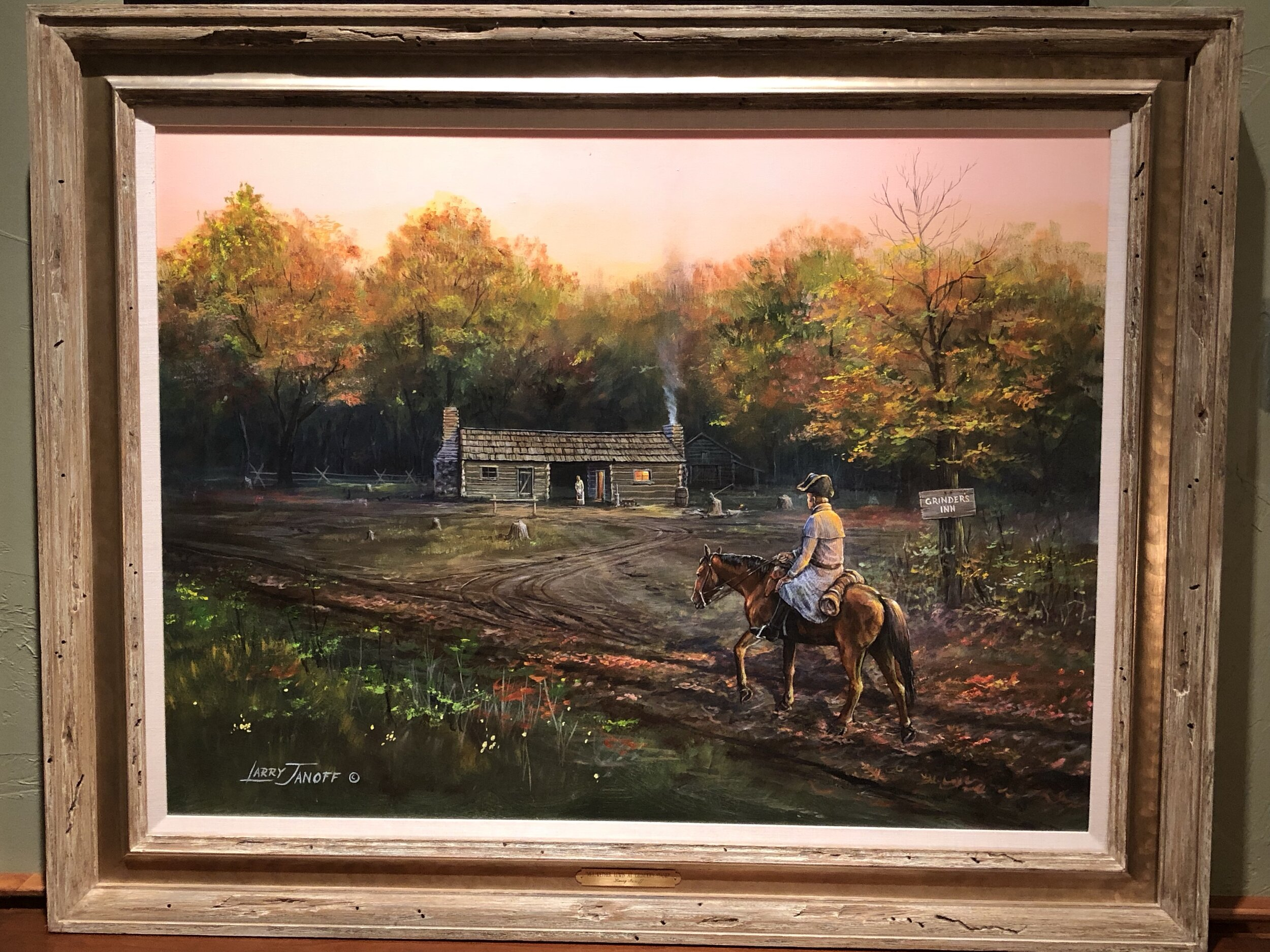 Original Larry Janoff painting. Acrylic. Janoff is an award winning painter from Big Fork who has two pieces in the permanent collection of the Smithsonian. He is best known for scenes from the 19th Century American West, including the Lewis and Clark Expedition. -