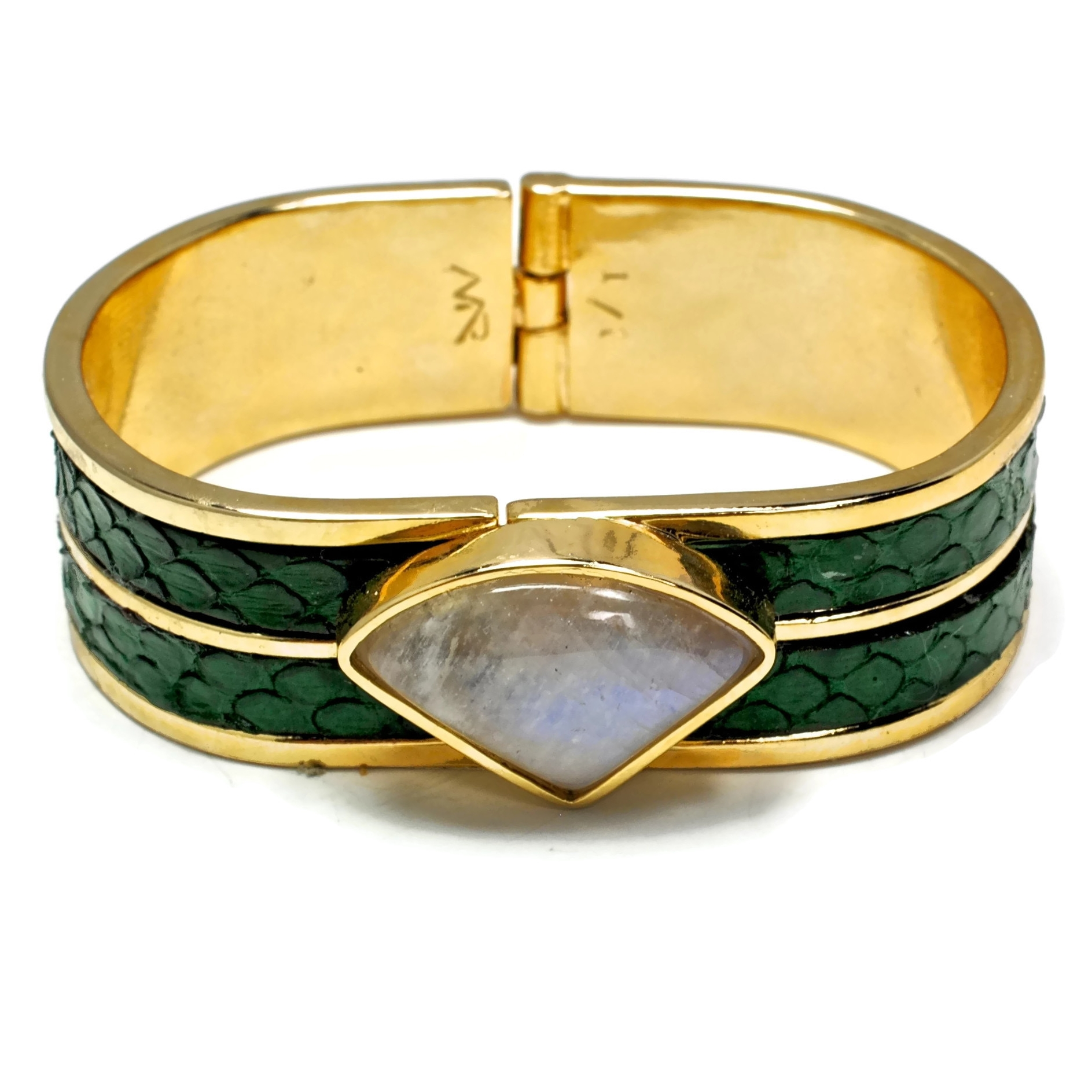 Opal and Snake Skin Set in a 14K Gold Plated Brass Cuff3.JPG
