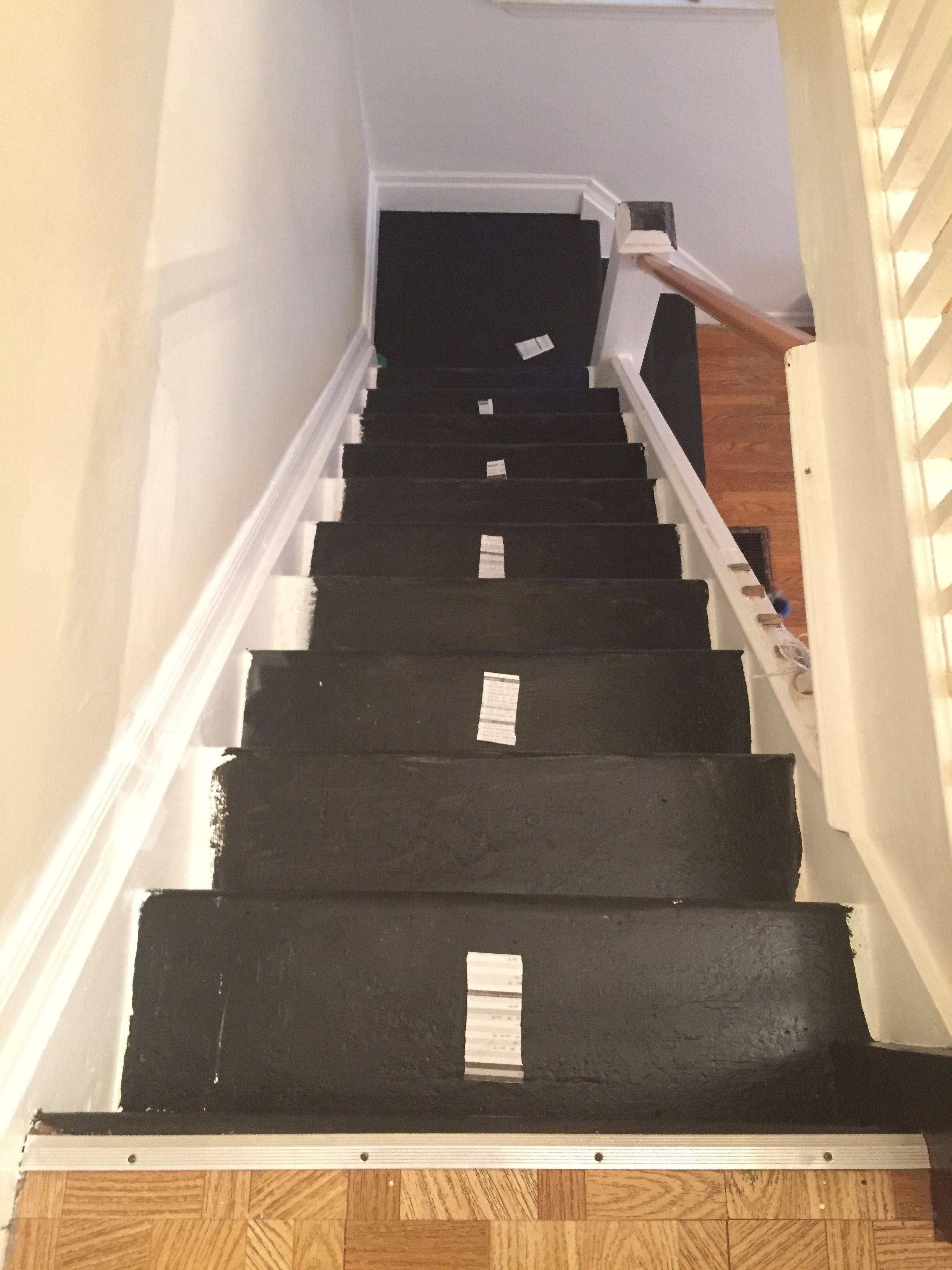 lesley-metcalfe-all-stairs-painted-black-at-top-looking-down.JPG