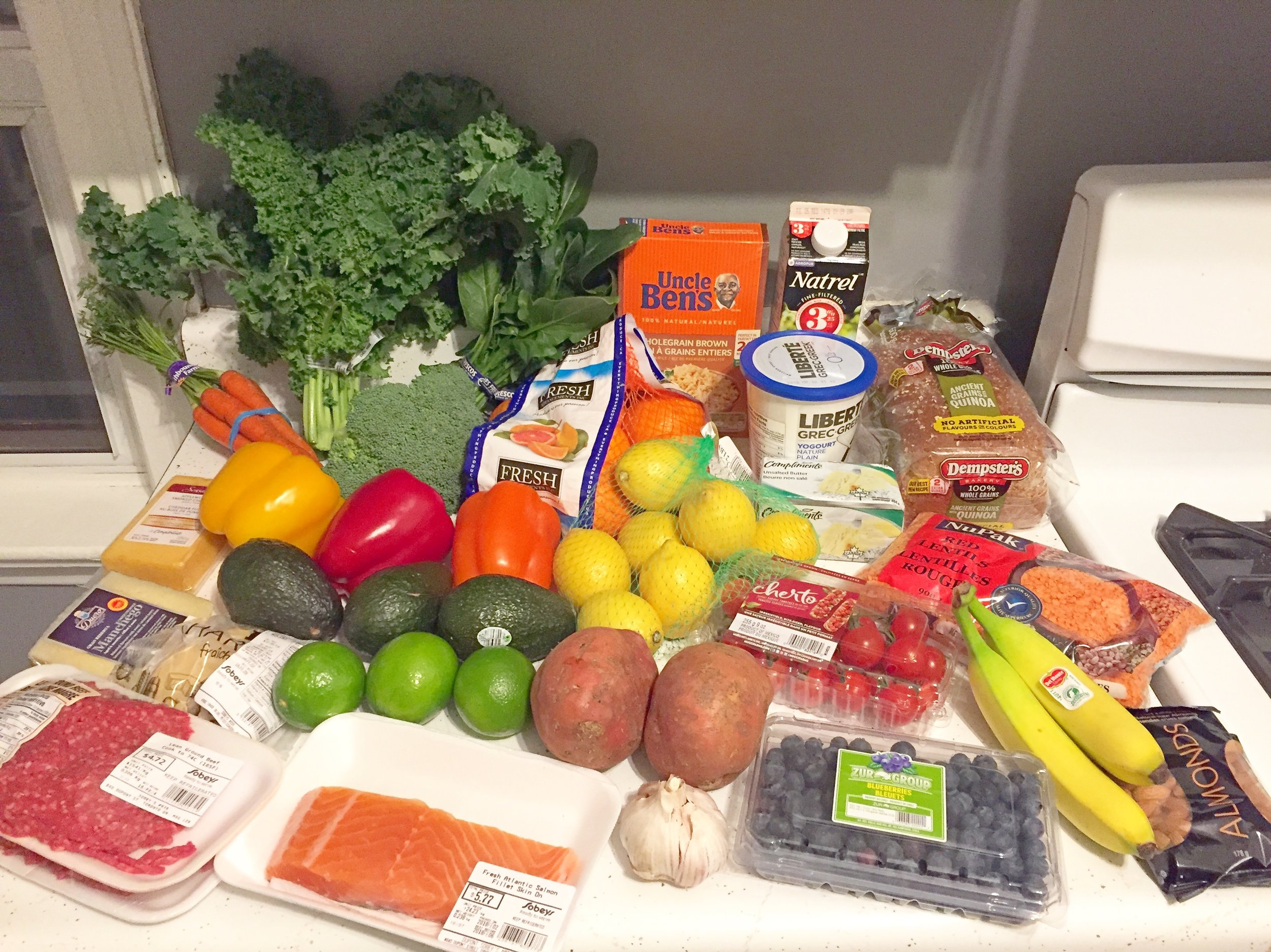 My first grocery shopping haul upon discovering I was pregnant.