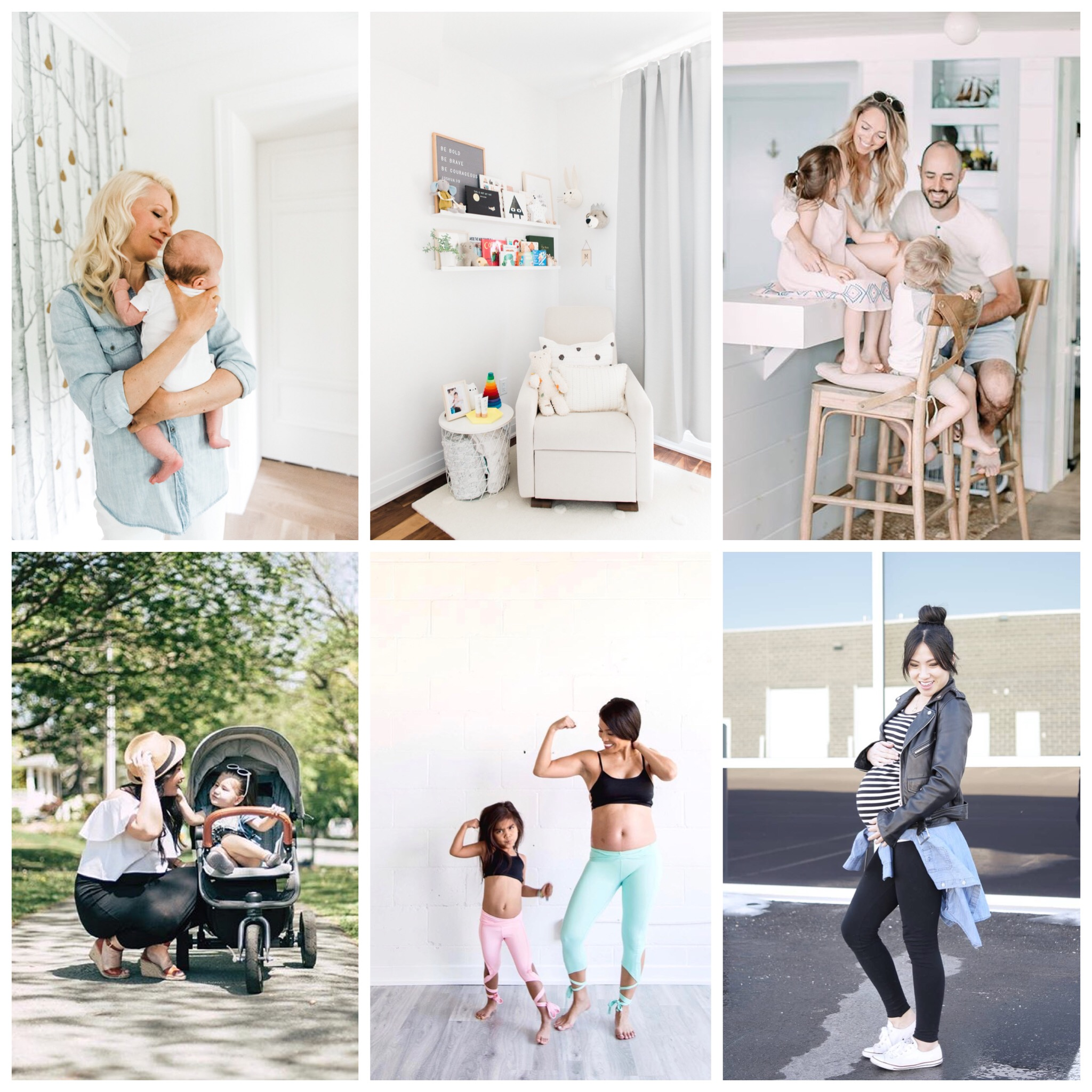 Clockwise from top-left: Abbey's Kitchen; This Wild Heart; Bonjour Bliss; PrettyLittleWings; No Tummy Mommy; Love and Sundays