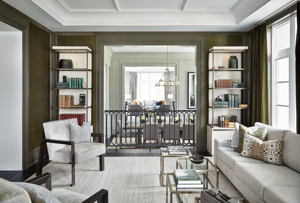 Stunning sight-line: looking from the library at the front of the house, over the dining table and chairs in the sunken dining room,