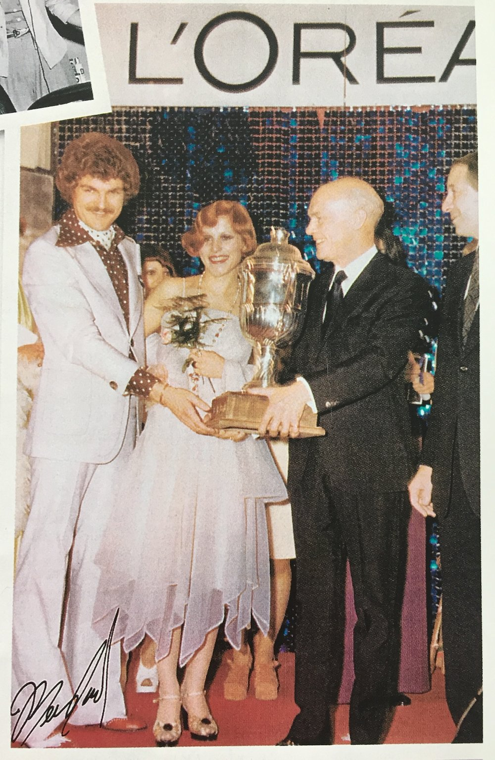 Elmer (left) at a L'Oréal competition in 1974