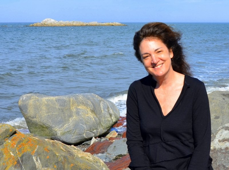 Sarah on the beach in Métis-sur-Mer, on the Gaspé, Quebec, her summer getaway sanctuary; 2016
