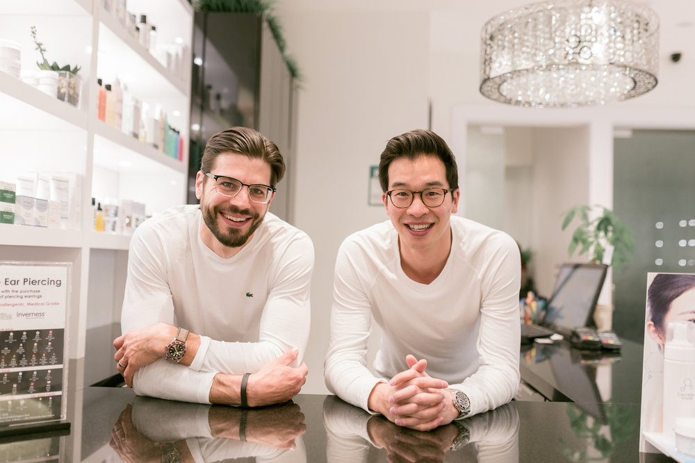 Justin Dumitrescu (left) and Nathan Tam (right); President and CEO of Caryl Baker Visage