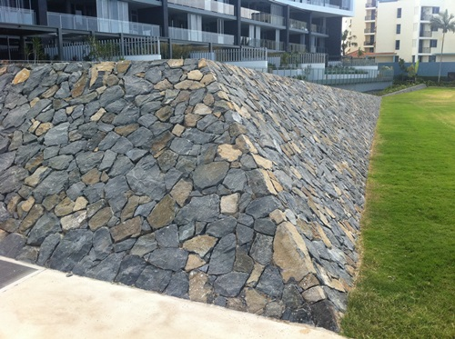 Free Form Queensland Bluestone Walling.