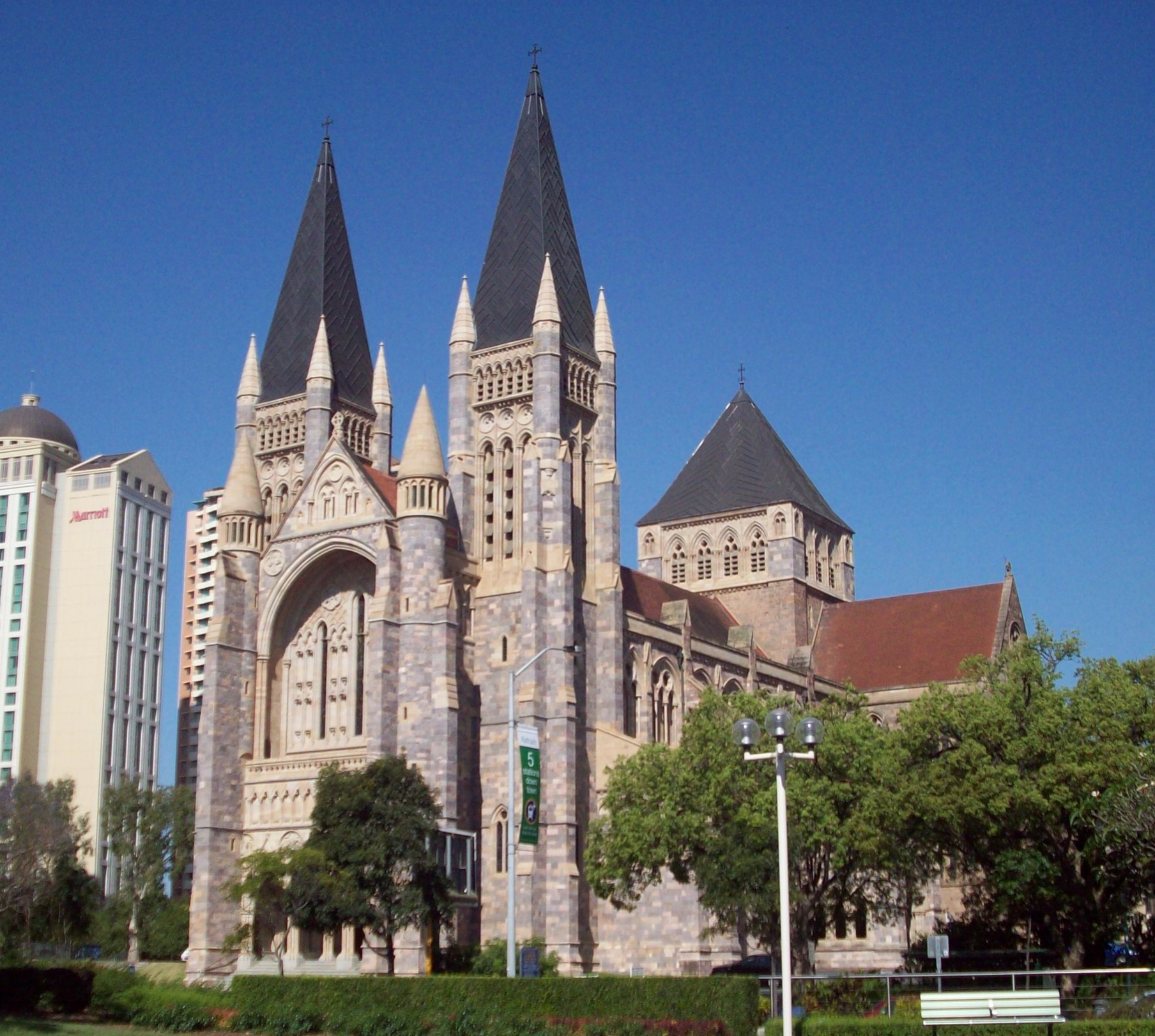 St Johns Cathedral , constructed using Brisbane Tuff Stone. Stage one was built between 1906- 1910.  The final stage being completed in 2009.