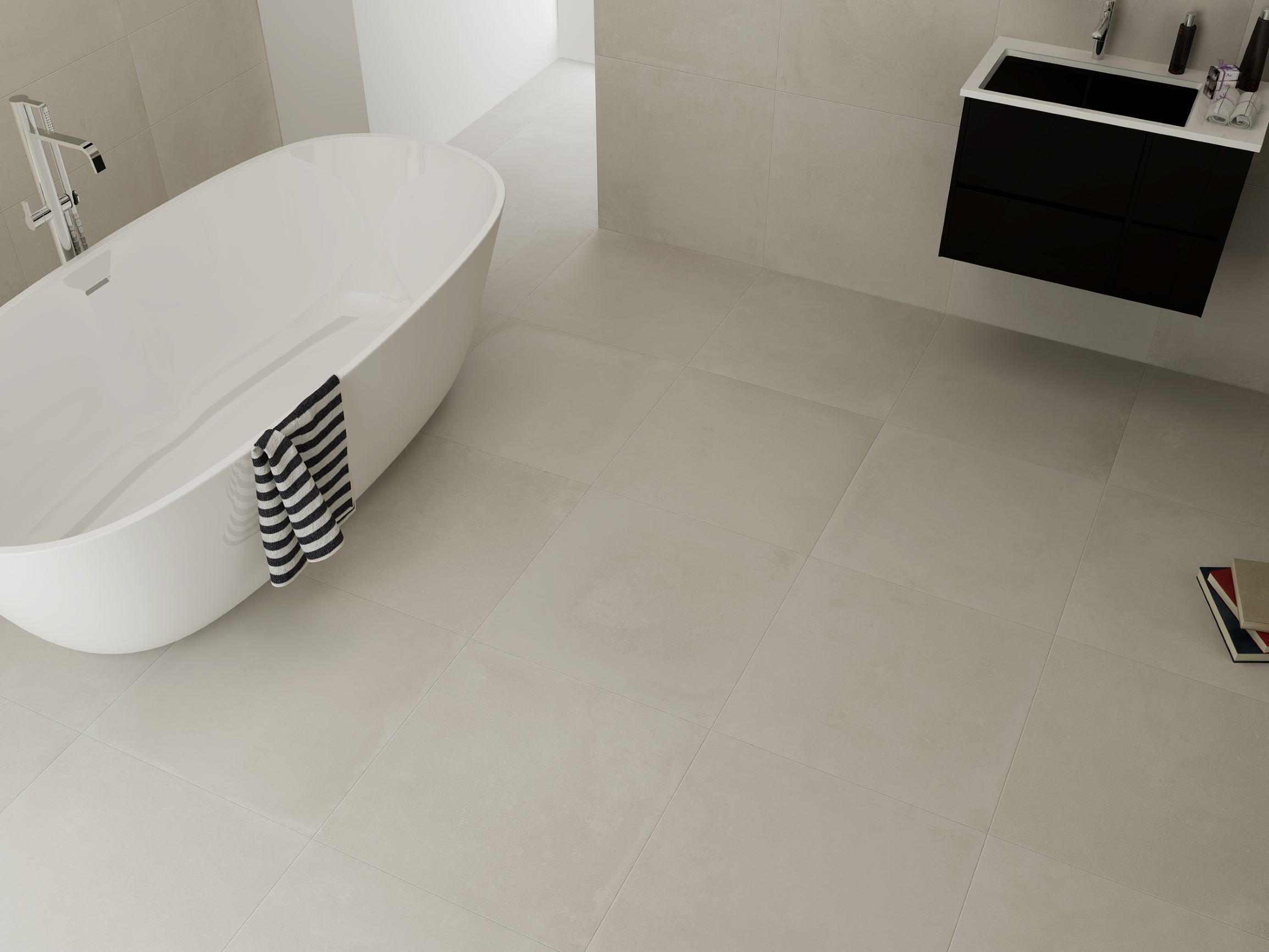 ARDEN-Terrazzo Porcelain 600x600 Ivory. This colour mix softens the contrast from light to dark tones.