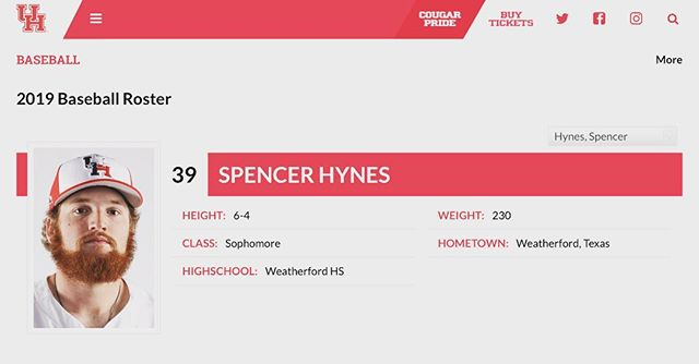 Former Cat, Spencer Hynes, about to kickoff his sophomore season at the University of Houston after spending his freshman year at Grayson JC .