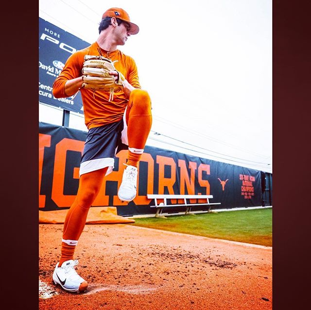 Cats alum, Blair Henley (FW AHHS), getting a bullpen in as his Longhorns season is about to get started.