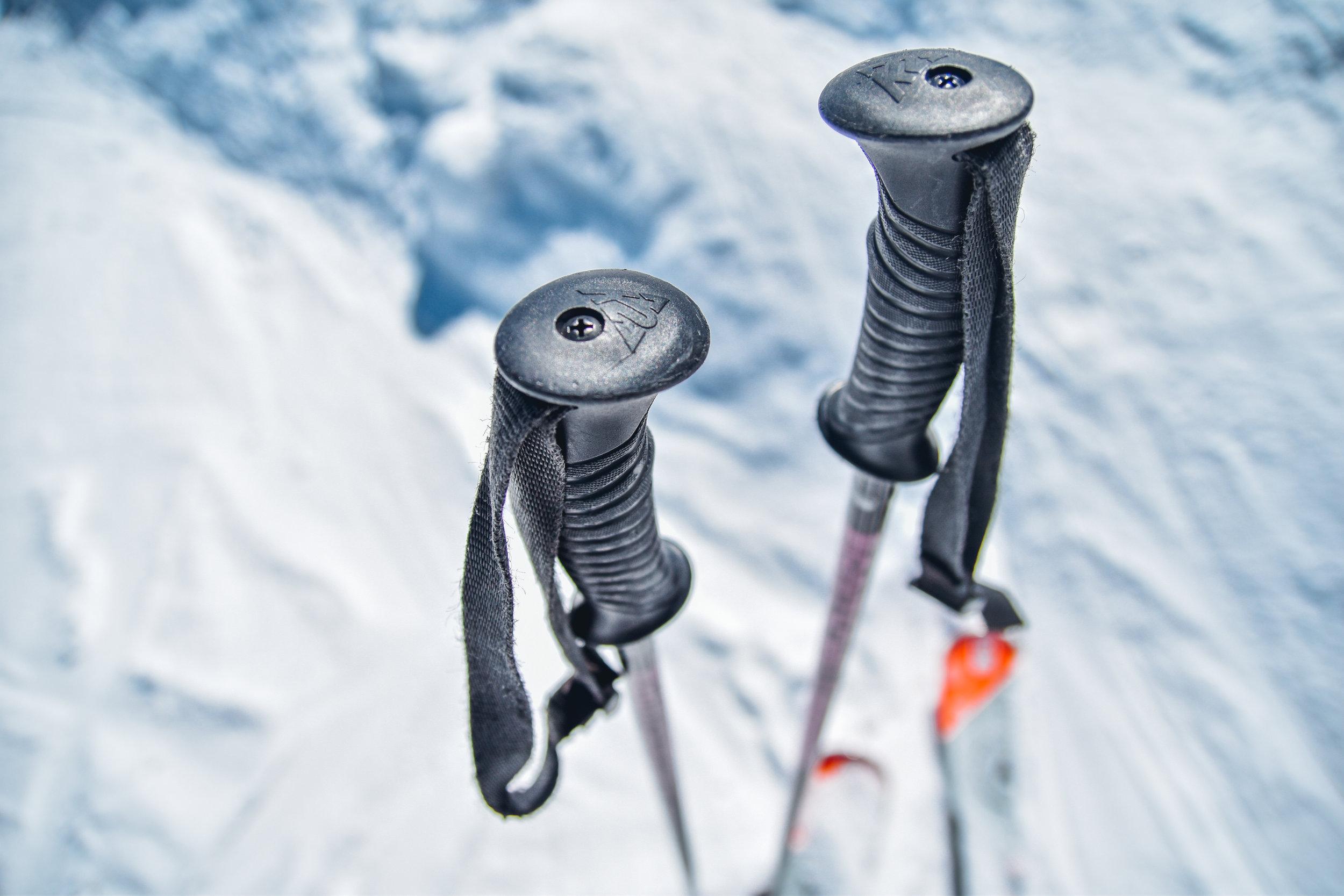 skis on the mountain