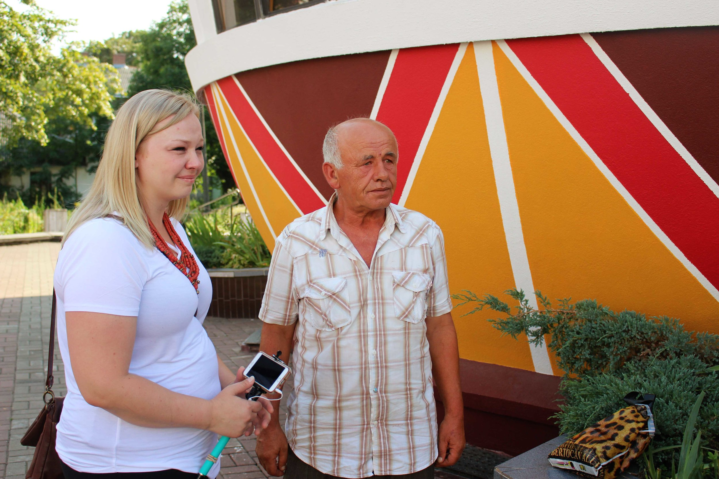 Samantha Luczenczyn, a Troyanda dancer, met up with some family early on in the trip. One of her relatives surprised her in Kolomyia at the Pysanka Museum.