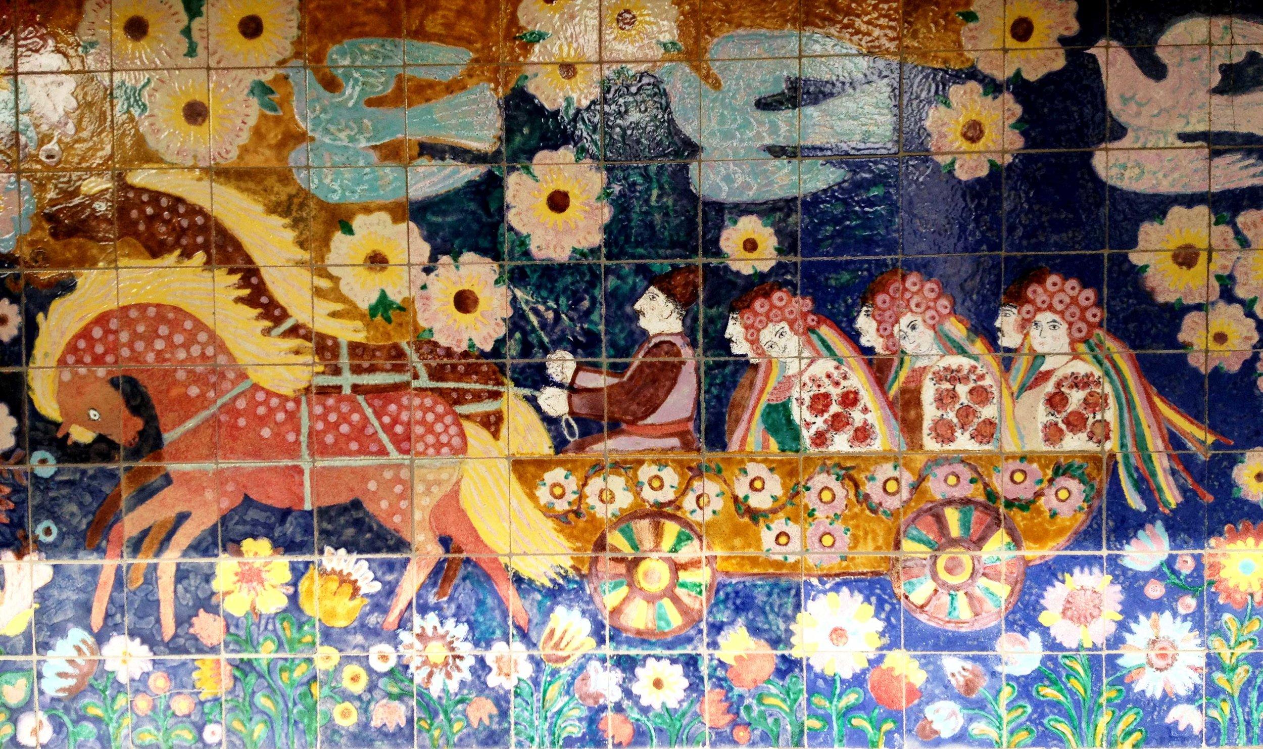 Ukrainian folk art covers the walls of the building Virsky's studio is in.