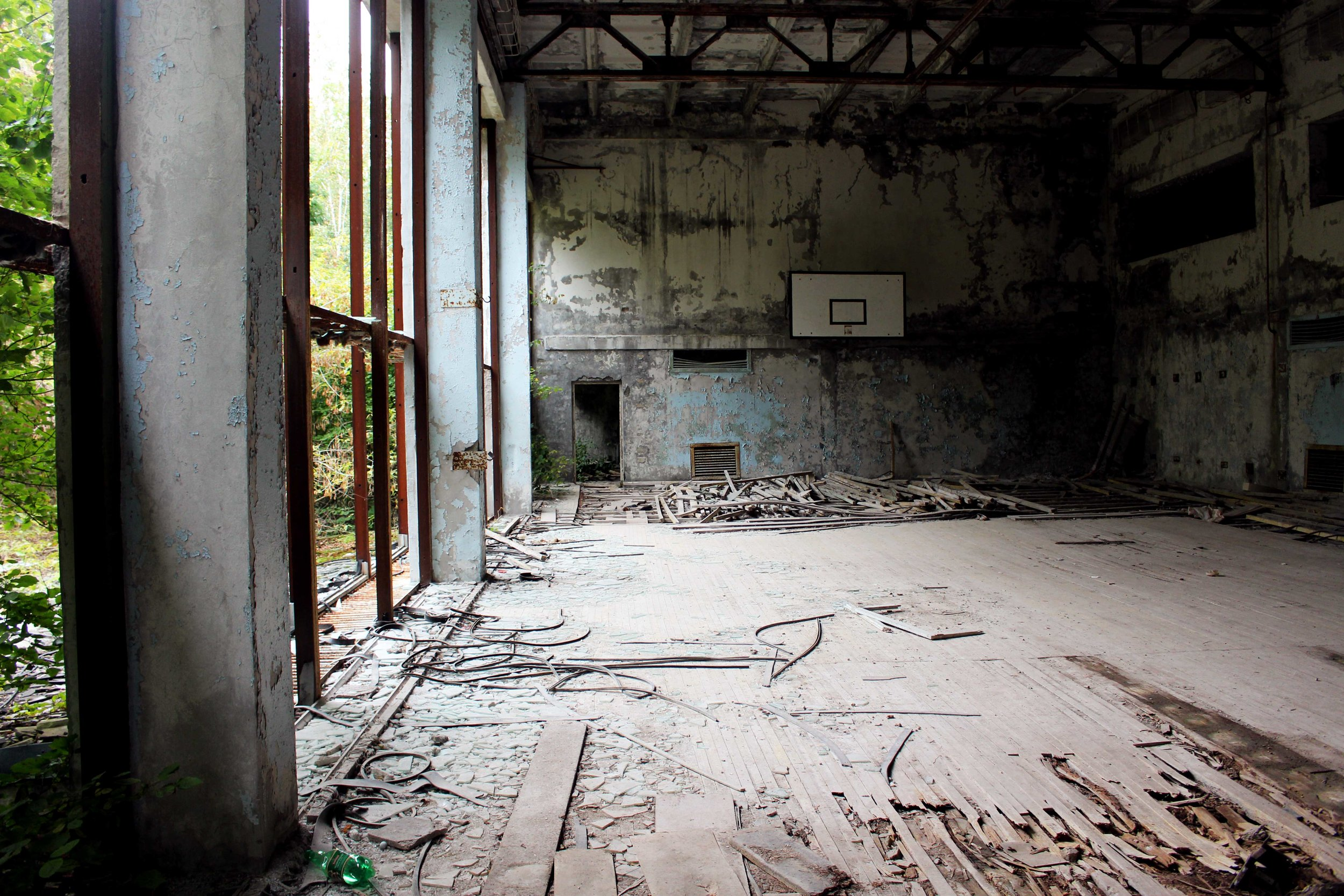 We walked through a gym of one of the schools.