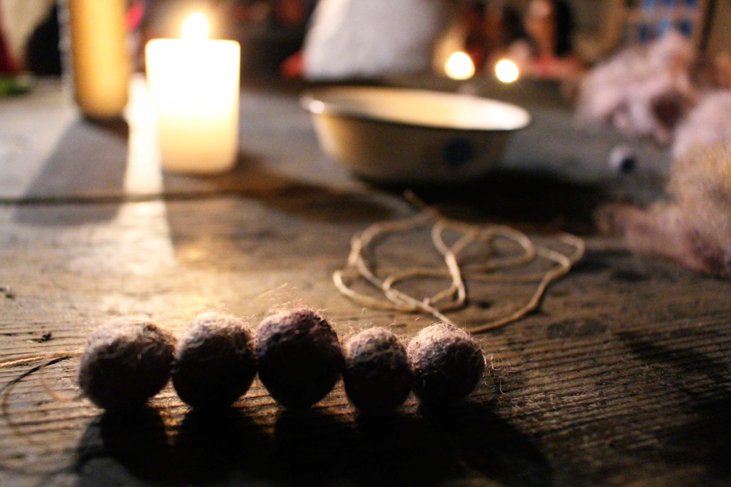 Once the wool dried, the balls changed to a beautiful purpley-grey colour.