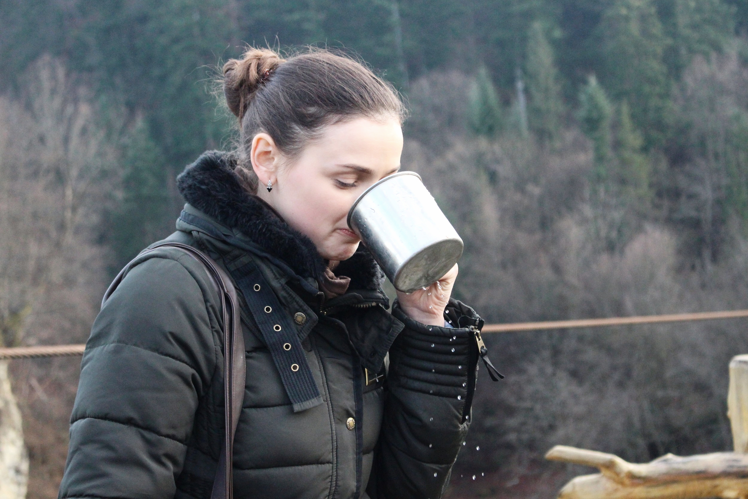 Our fantastic tour guide, Yaryna Gopchuk, takes a sip of some fresh water.