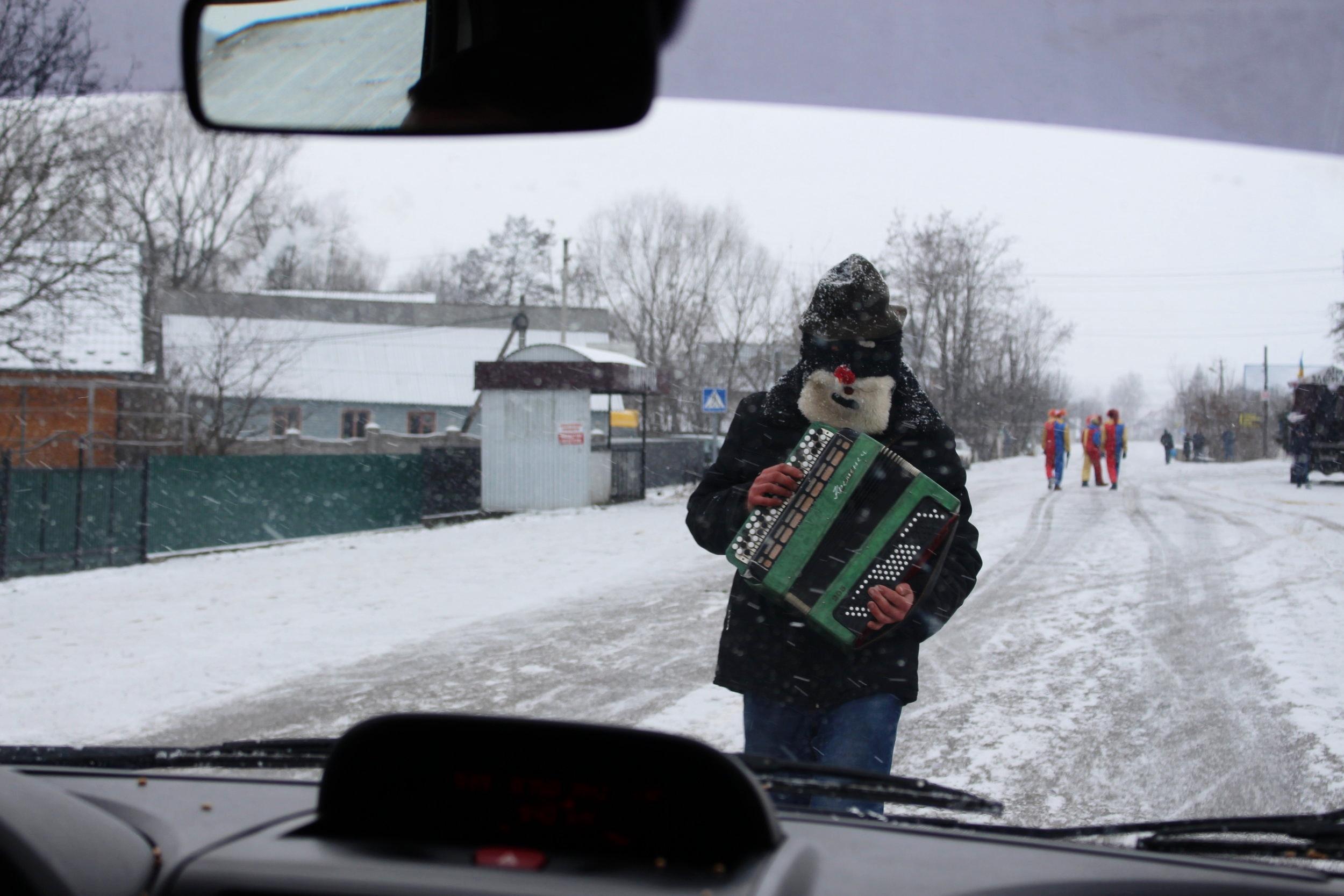 An accordian-playing roadblock.