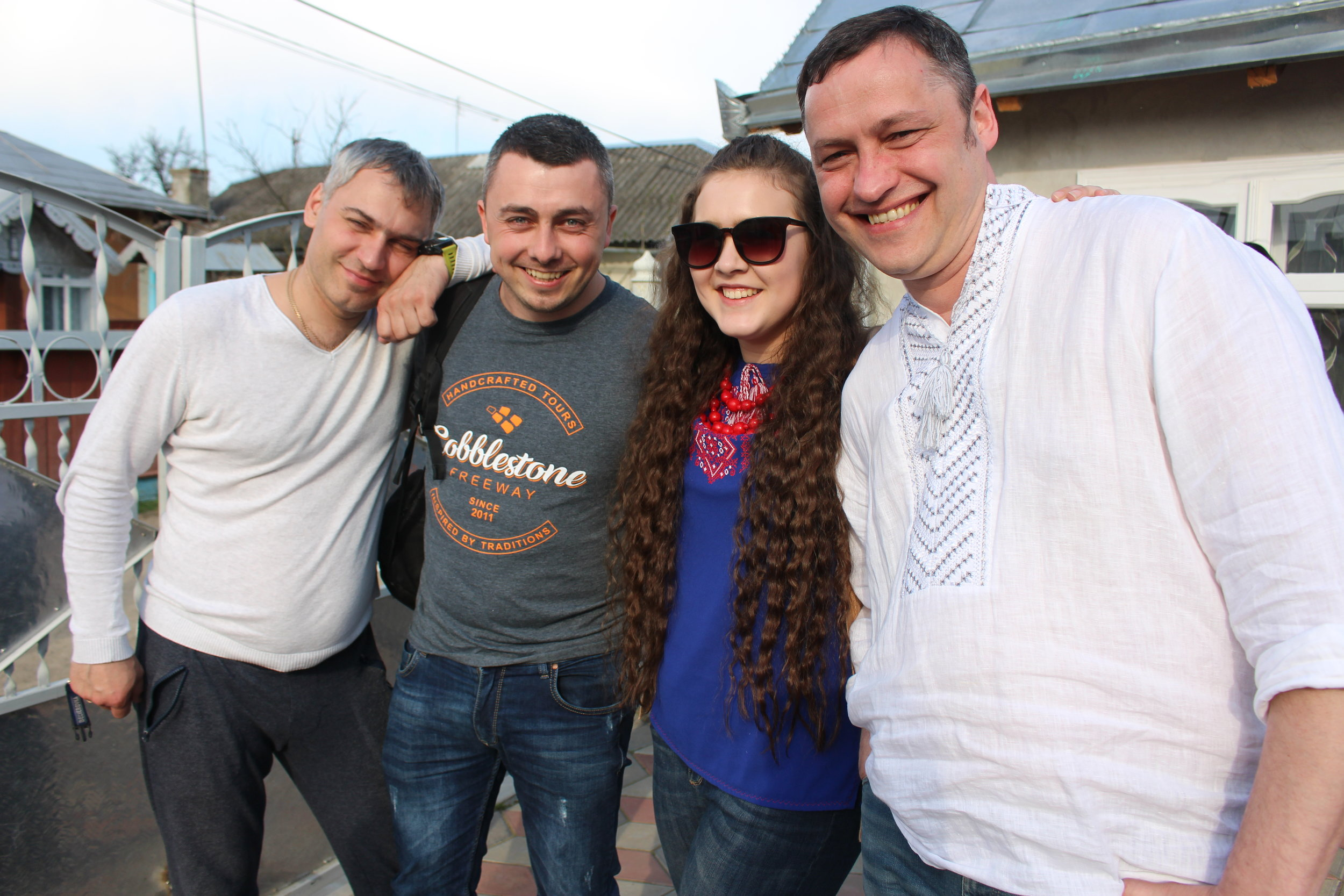 Our driver, the Cobblestone crew, and Natalya were all smiles after the meal we just ate.