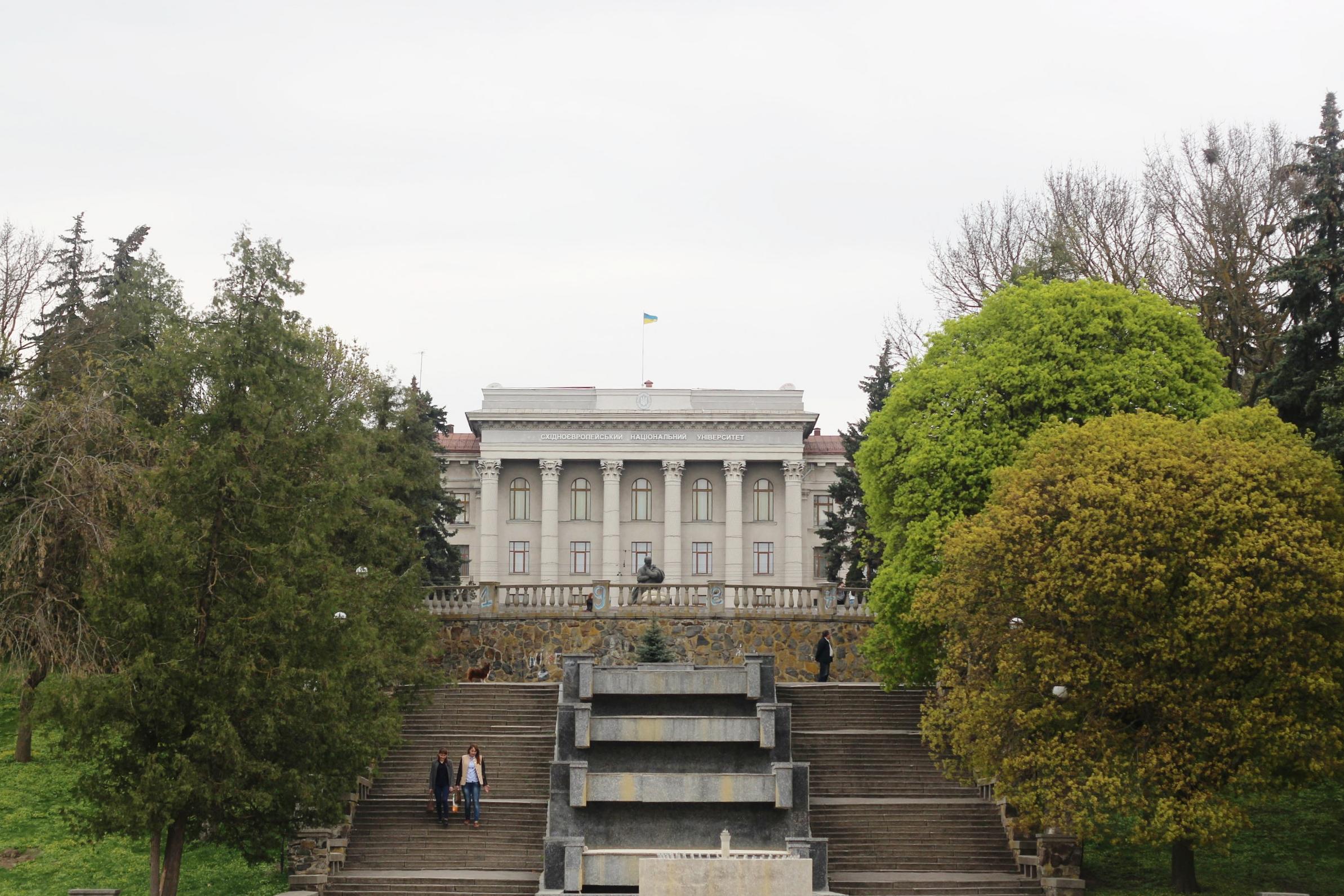 A Taras Shevchenko monument stands in front of the Lesya Ukrainka Eastern European National University. (And, not pictured, a Lesya Ukrainka monument stands in front of the drama theatre, named after Taras Shevchenko.)