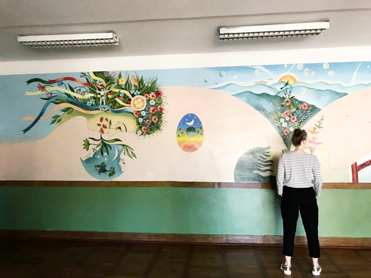 We went to School #25 a couple times during our stay in Lutsk. One time we went so students could practise speaking English (which they were great at, by the way).  Hannah Picklyk  took this photo of me admiring one of the murals in the school.