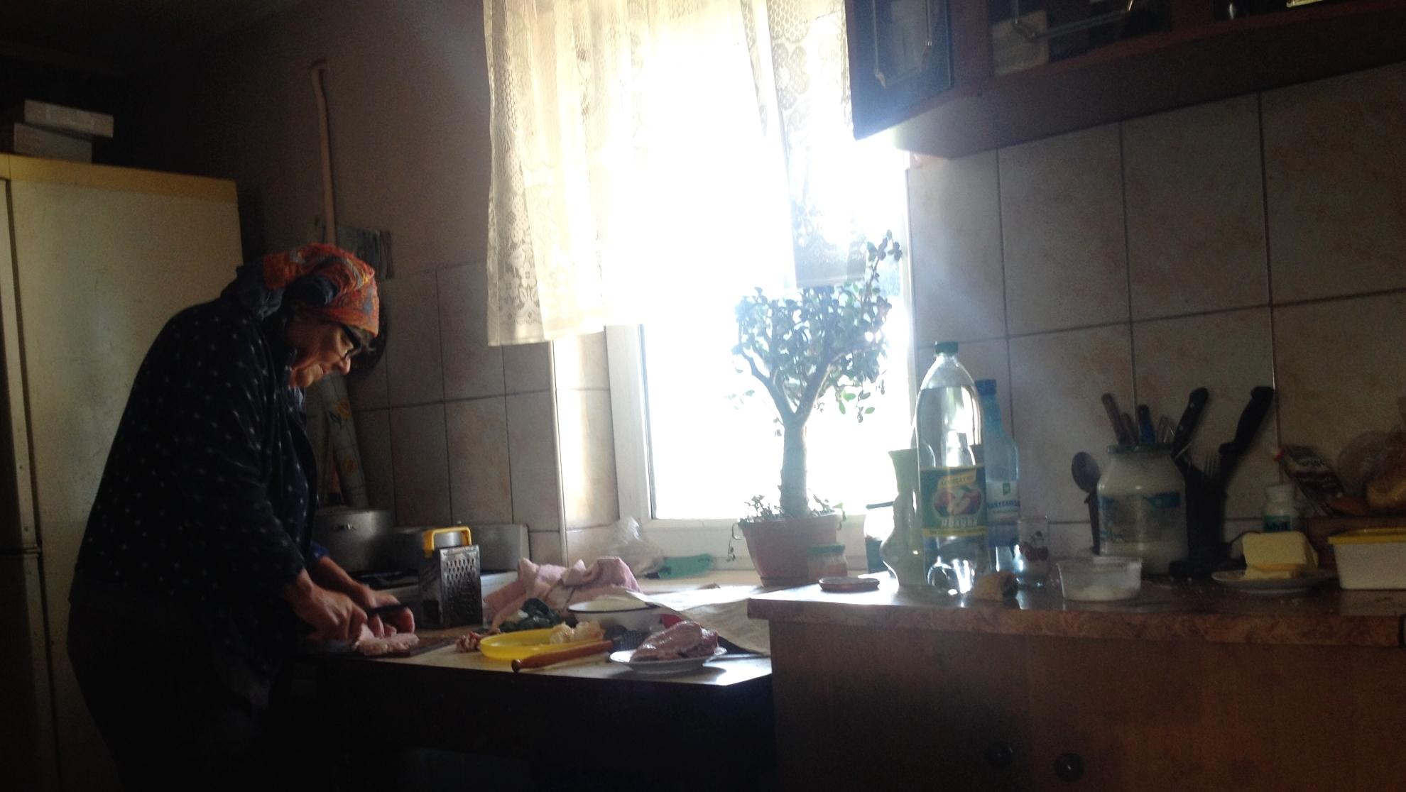 Hanna prepared food for me to take back to Lviv.