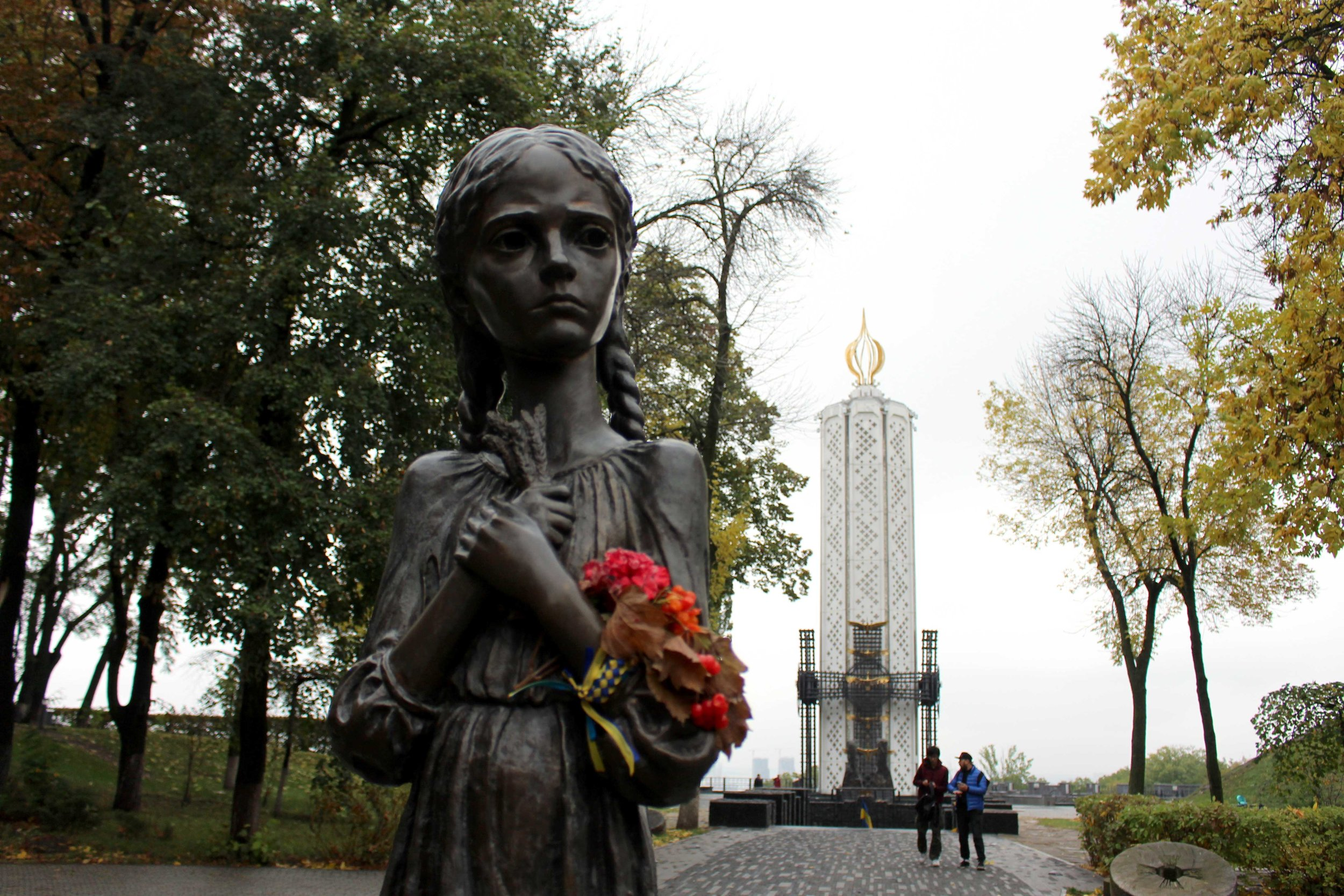 This memorial statue stands in Kyiv.