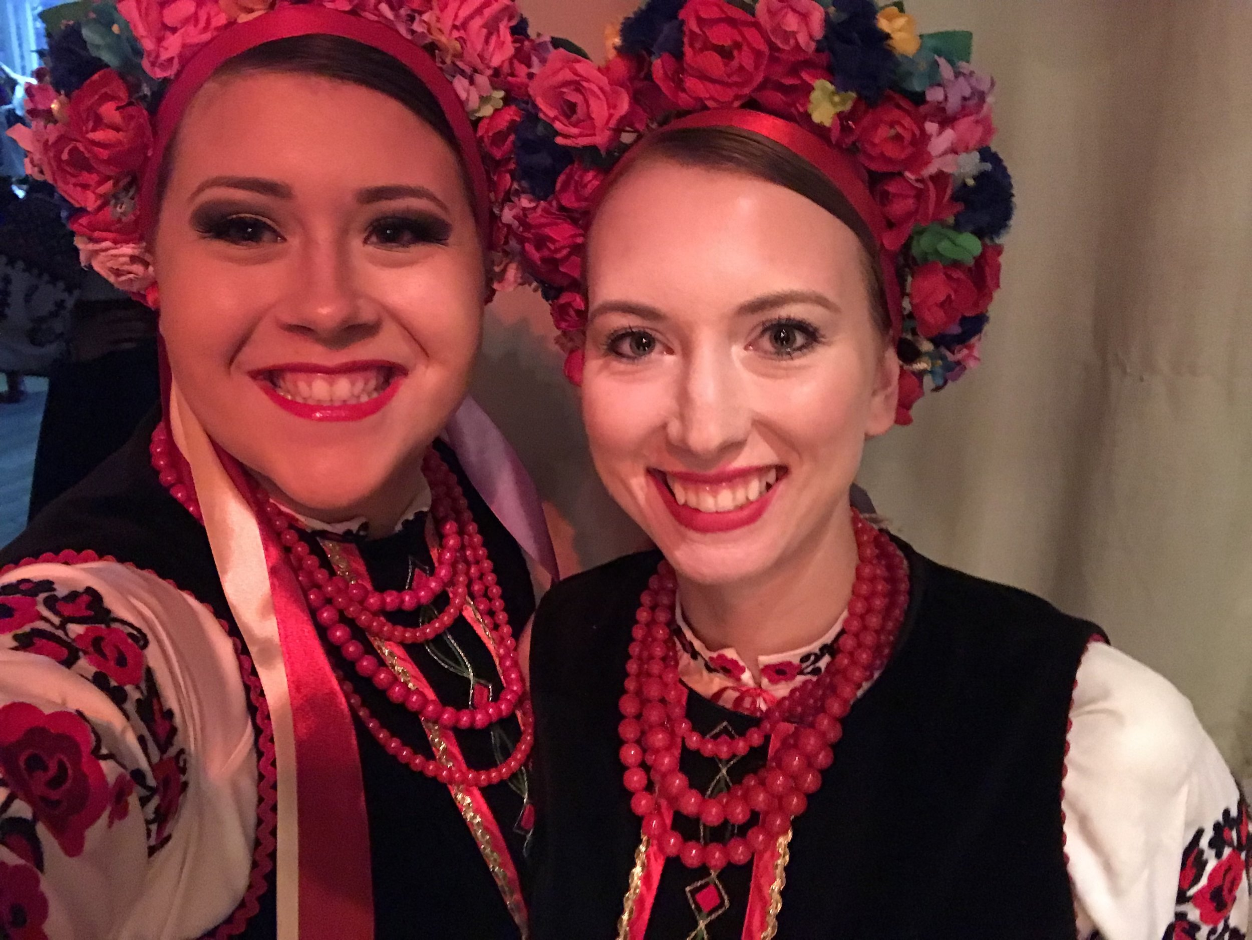 Hannah and I living the dream, performing Ukrainian dance with a dance group from Ukraine while in Ukraine.
