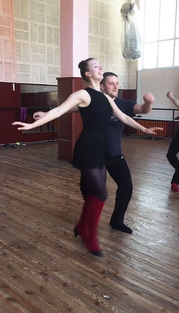 A screenshot from a video of me and my all-star partner Oleksi rehearsing the dance we performed at my last rehearsal with the Volyn ensemble.