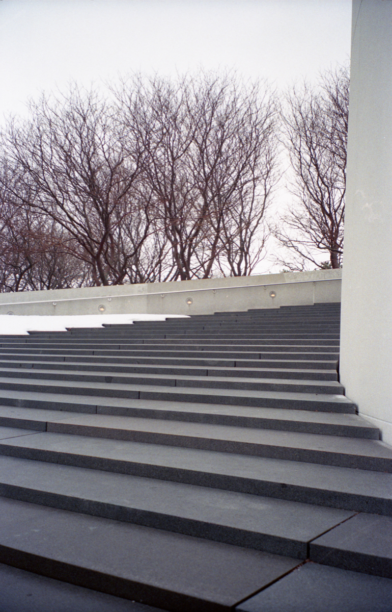 The steps of the John F. Kennedy Museum in Boston, MA