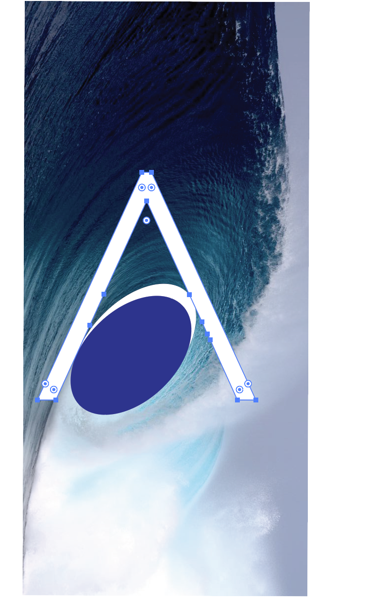 Curvature of the stroke modelled off a real wave because it looks more natural