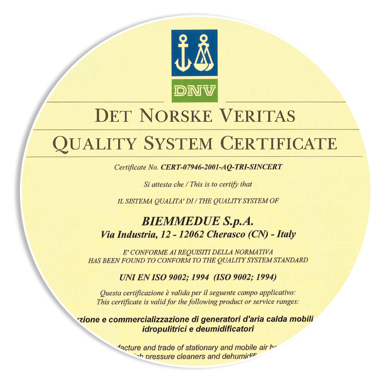 CERTIFICATION - Obtaining quality certification UNI EN ISO 9001, now officially UNI EN ISO 9001: 2015