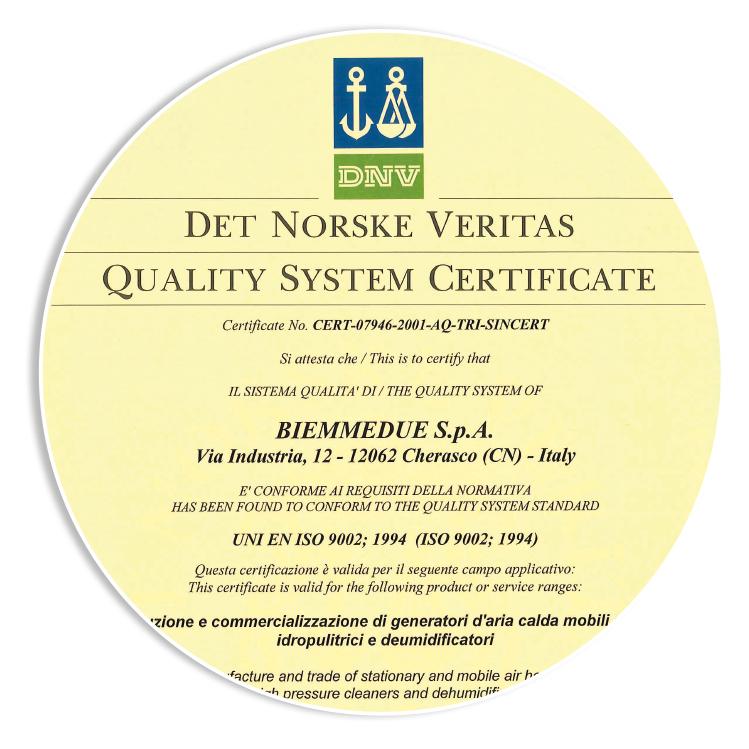 CERTIFICAZIONI - Ottenimento della certificazione di qualità UNI EN ISO 9001, ora divenuta ufficialmente UNI EN ISO 9001: 2015.