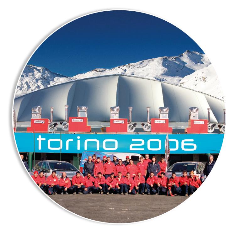 OLIMPIADI INVERNALI DI TORINO - Olimpiadi Invernali Torino 2006, BIEMMEDUE è stata fornitore ufficiale di General Electric Co.(main sponsor dell'evento) con i suoi generatori di aria calda che hanno riscaldato tutte le strutture dei siti Olimpici
