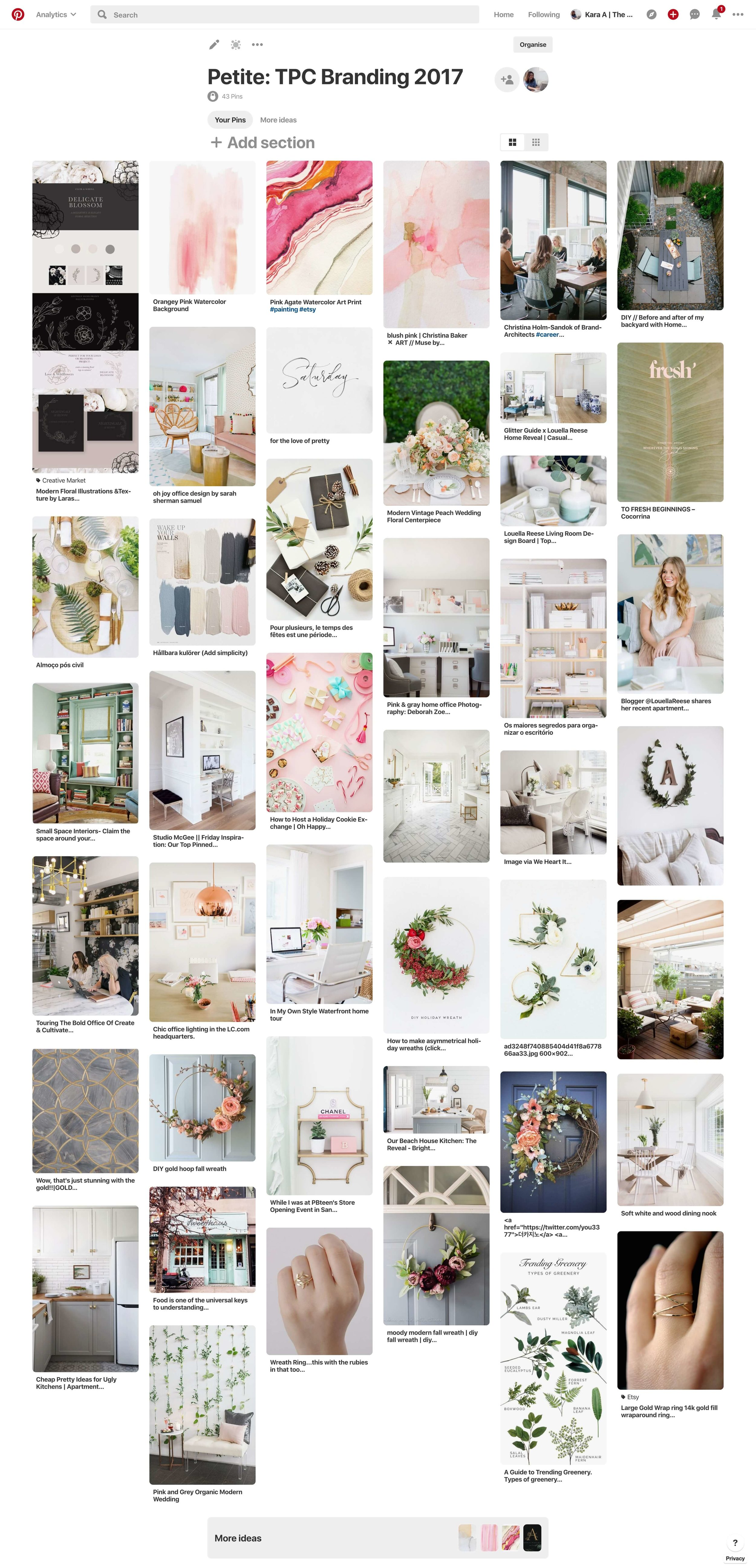 My 2017 Pinterest board went a little over the 30 recommended pins, but this was pre-curation and the dominant theme, as you could tell, was classic, clean lines and nature.