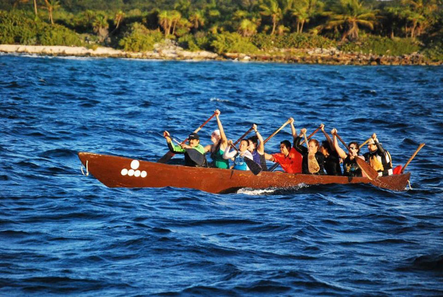 May 2016. Our family friend Leopoldo Rodriguez training with his team to take part in the reenacted sacred journey to Cozumel, to worship the Moon goddess Ixchel.