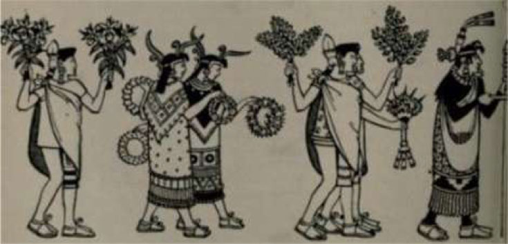 Cempoalans with gifts of flowers