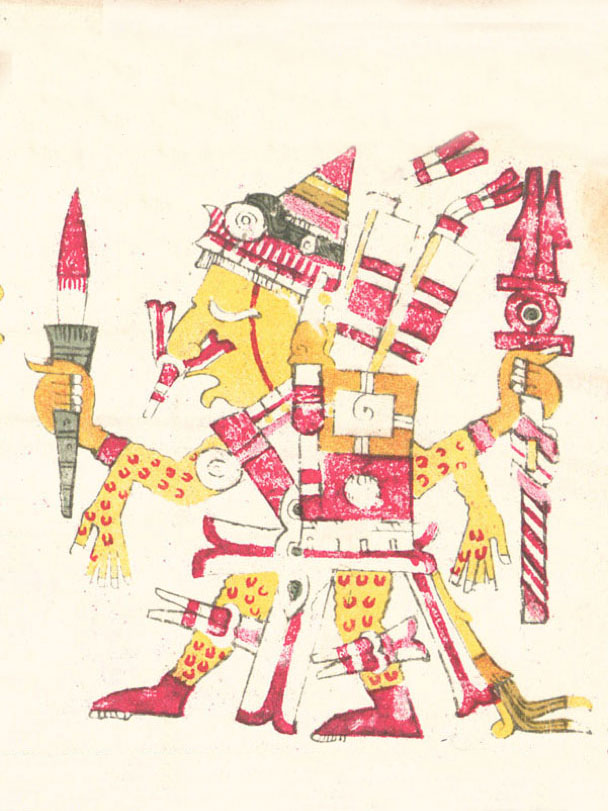 Xipe Totec as depicted in the Codex Borgia, holding a bloody weapon and wearing flayed human skin as a suit