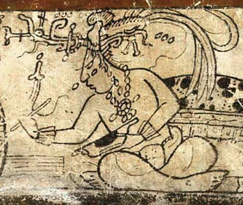 Tonsured Maize God as a patron of the scribal arts, Classic period