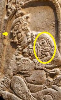 Dos Pilas in Guatemala: the Maya Sun god K'inich Ajaw, with a Venus symbol on his shoulder.