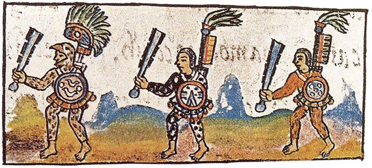 An Eagle warrior (left) depicted holding a macuahuitl (a wooden sword with an obsidian blade).