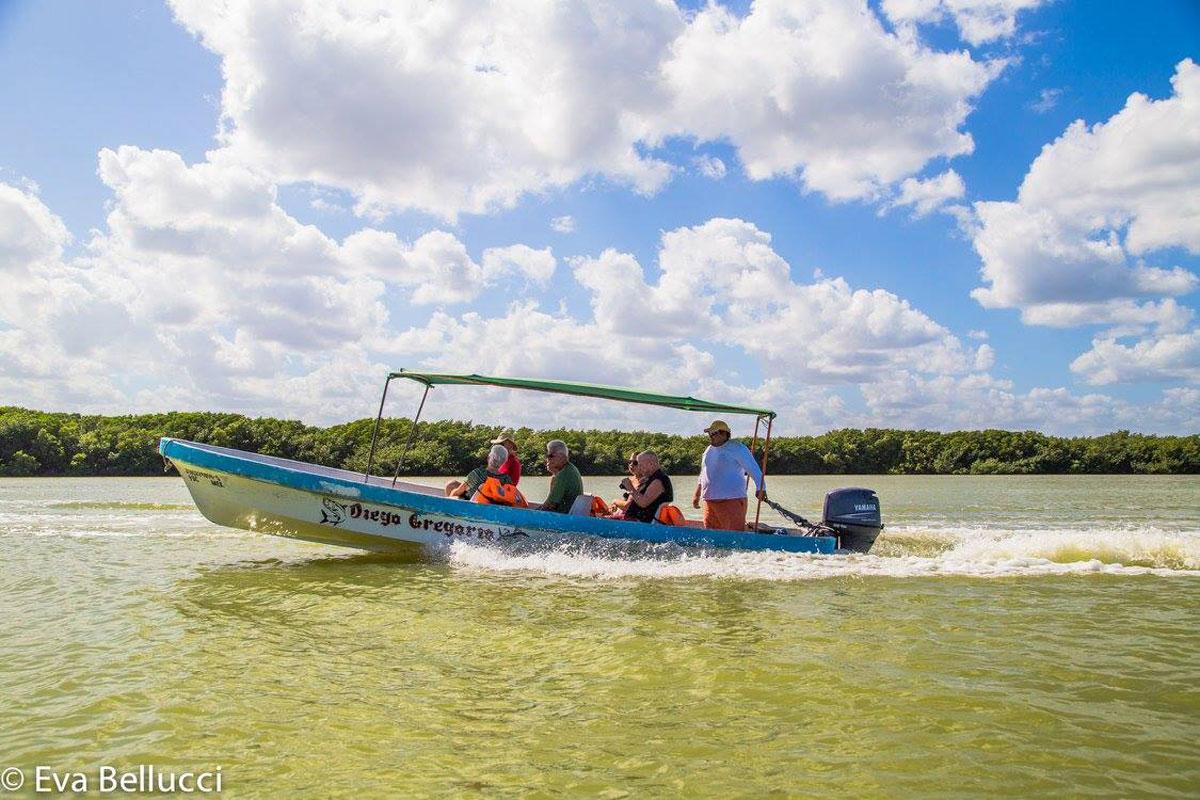 Each lancha (small boat) takes 6 passengers…