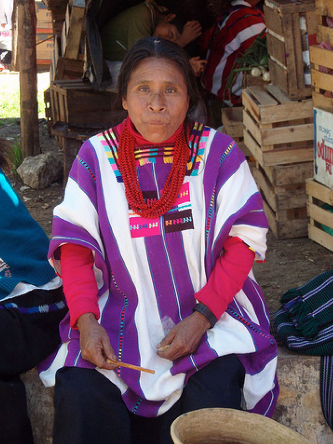 Oxchuc woman in huipil (Mayan traditional dress). I borrowed this photo from the internet. Author unknown.