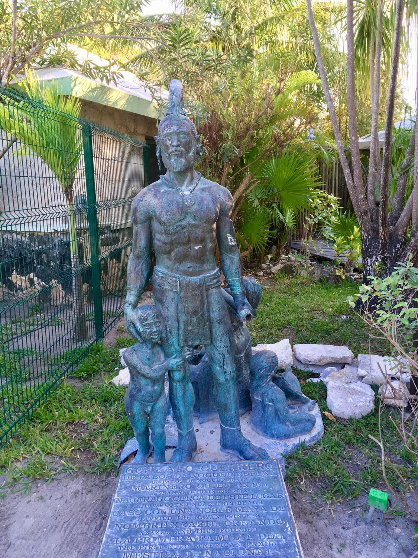 Statue of Gonzalo Guerrero by Raúl Ayala Arellano in Akumal, Quintana Roo.